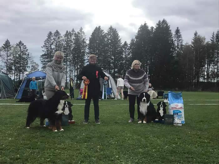 Kan være et bilde av 4 personer, deriblant Gro Solberg og Leif Ragnar Hjorth, folk som står, hund og utendørs